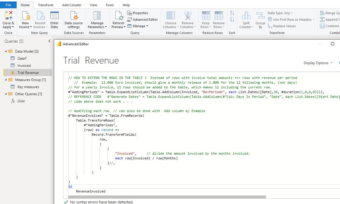 M Code trial for Revenue Query